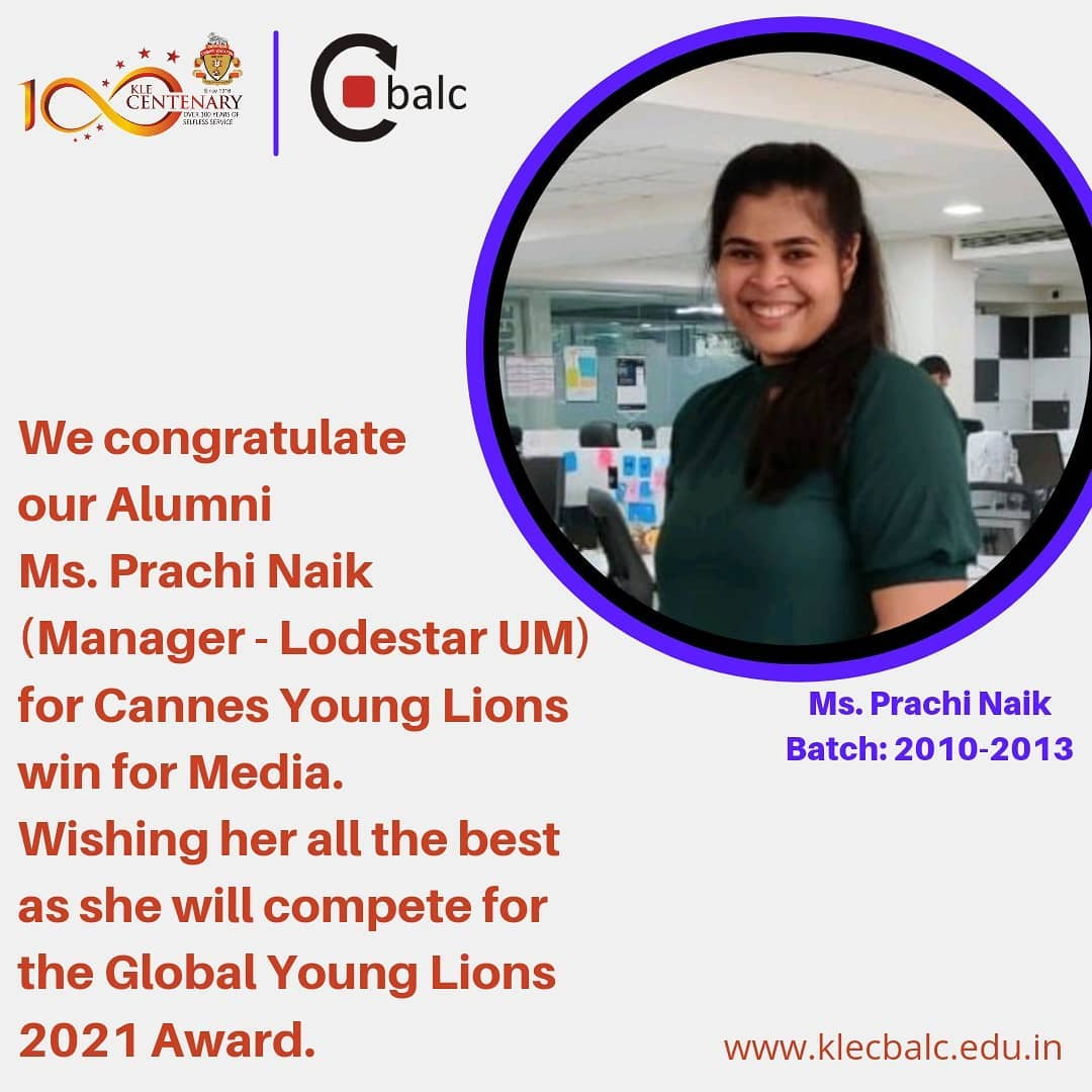 Ms. Prachi Naik – Cannes Young Lions win for Media