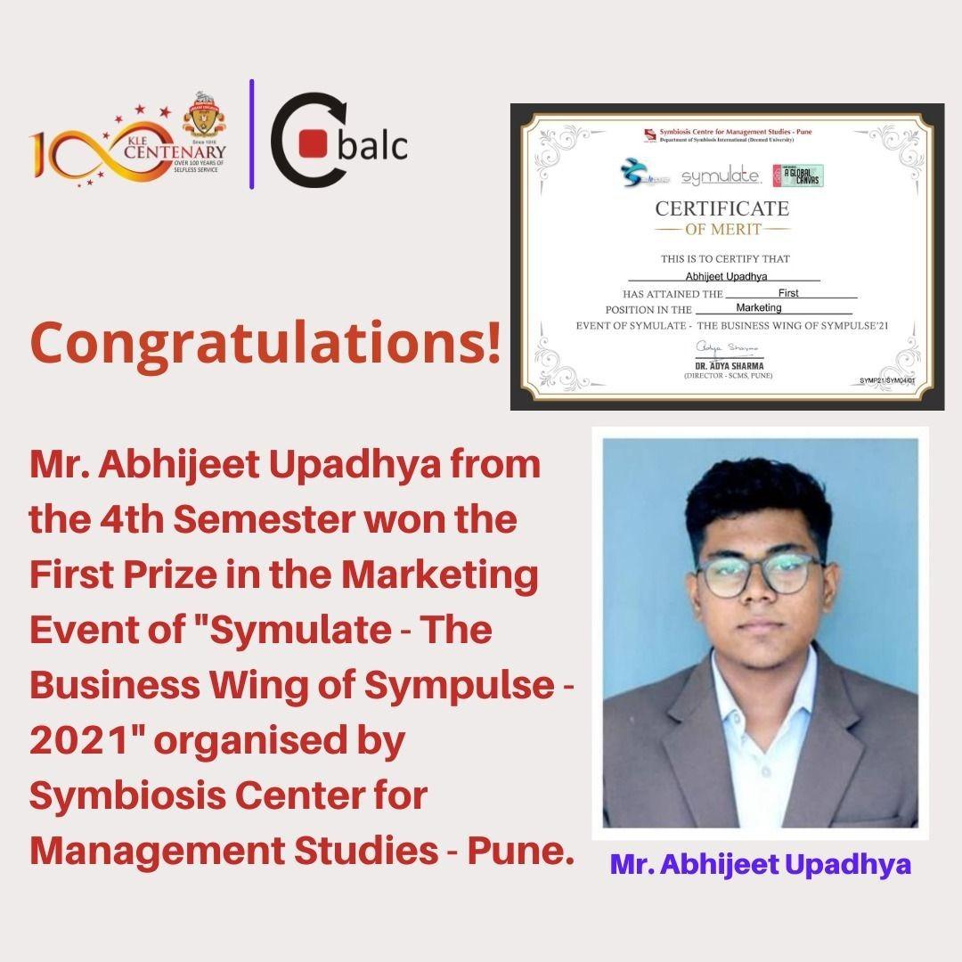 Congratulations – Mr. Abhijeet Upadhaya